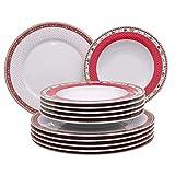 Kahla 4043982290546 Sternenflirt Weihnachten Weihnachtsdekor Tellerset 12-teilig für 6 Personen Porzellan Set rot weiß 6 Speiseteller 6 Suppenteller