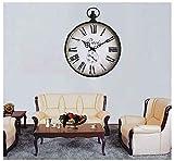 TINERS Reloj De Pared De Metal Redondo Cuerda De Cáñamo Números Romanos Relojes para El Dormitorio Y Sala De Estar Decoración Accesorios Relojes De Pared,Black