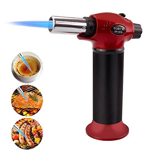 Fixget Küchenbrenne Butangasbrenner für Creme Brulee, Butan Gas Nicht Enthalten, Edelstahl, Red M