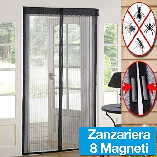 Tenda zanzariera magnetica nera 140x240cm per porte finestre anti zanzare mosche