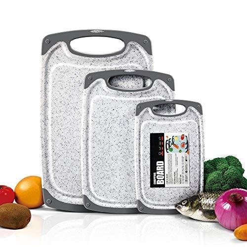 Masthome 3-teiliges Schneidebretter-Set aus Kunststoff, BPA-frei, mit Saftrillen, Verschiedene Größen, Marmormuster Schneidebrett