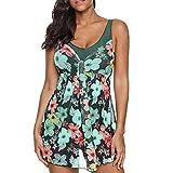 Overdose Blumendruck Damen Übergröße Bikinis Tankini Swim Kleid Badeanzug Beachwear Gepolsterte Bademode Frauen Plus Size Beachwear Badeanzüge Bikini Set(Grün,S)