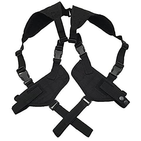 LIVEBOX Tactical Horizontal Double Draw Shoulder Gun Holster Pouch Concealed Carry Adjustable Ambidextrous with Padded Shoulder for Maximum