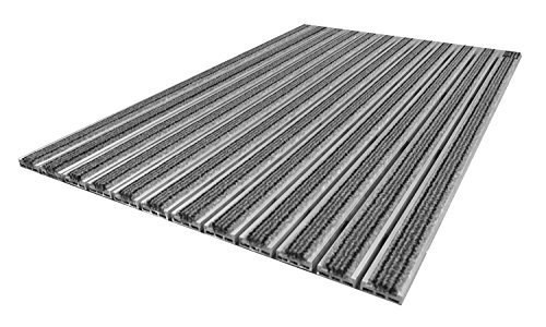 Emco Eingangsmatte Diplomat 10mm Textilbürste grau Fußabstreifer ALU Fußmatte Türmatte Abstreifer, Größe:590 x 390 mm