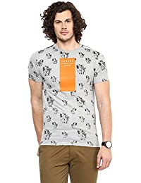 Wear Your Mind Grey Cotton Round-Neck Printed T-shirt For Men TSS203.1