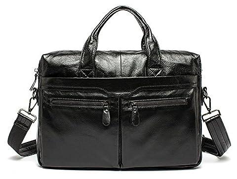 Xinmaoyuan Sacs à main pour hommes Men's sac à main en cuir véritable épaule porte-documents d'affaires décontractée,Black