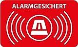10 Stück - Aufkleber Alarmgesichert 5 x 3 cm - Rechteckig mit abgerundeten Ecken - Dezent aber wirkungsvoll