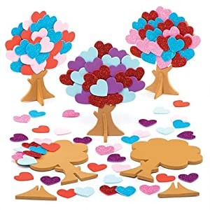 Love Heart Tree Kits for Children to Make and Decorate - Valentines Craft Toy for Kids (Pack of 5)