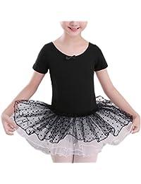 Zehui Kid Girl Gymnastics Ballet Tutu Dancer Leotard Dress Cute Bowknot Dancewear