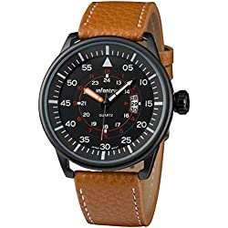 INFANTRY® Mens Analogue Display Wrist Watch Date Counter Sport Military Brown Leather Strap