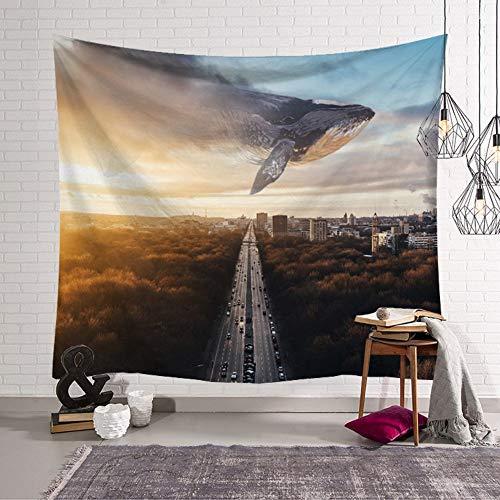 Lartum Tapestry Wall Hanging Indische Böhmischen Spirituelle Psychedelischen Gothic Größe Natur Tier- City Shark Material Für Home Schlafzimmer Wohnzimmer Kunst Dekoration, 150 X 130 cm (City Tiere Queen)