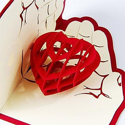 Carte de vœux faite à la main en 3d Pop Up Love is in the hand Happy Birthday pour un anniversaire, un mariage, carte d'amitié, Joyeux Noël Thanksgiving, carte de remerciement, Bonne chance, Bonne année, pour la