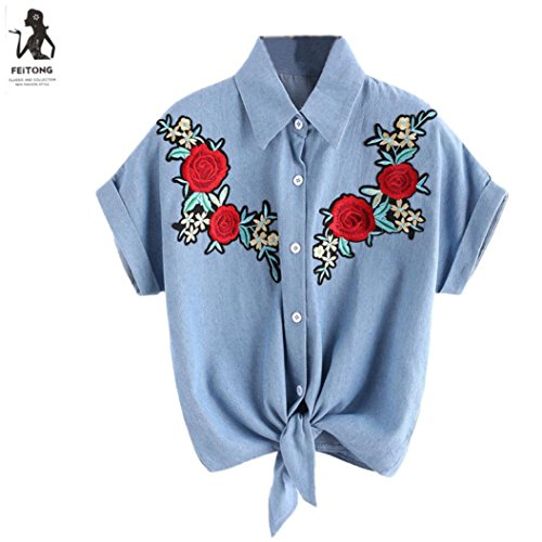 Cherokee Drucken Scrub Tops (Damen Bluse, brezeh Damen Rose Flower Blusen Short Sleeve Shirt Frauen T-Shirt XL blau)