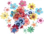 Yardwe 180pcs Edible Flowers for Cake Decorating Rice Paper Flower Cake Topper Cupcake Decor for Wedding Birth