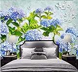 Wandbild tapete Benutzerdefinierte 3D Wallpaper Gelb Mode Blau Hortensie Blume 3D TV Wohnzimmer Hintergrund Wand papier peint, 150 cm X 105 cm