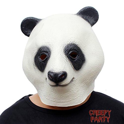 CreepyParty Deluxe Neuheit-Halloween-Kostüm-Party-Latex-Tierkopf-Schablone Masken Großer (Deluxe Maske Latex Panda)
