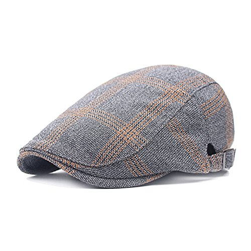 Men's Flat Cap Newsboy Cabbie Driving Duckbill Beret Hat Adjustable (Grey) (Fedora Plaid Herren)