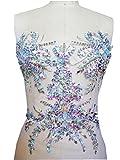 Nuevo hecho a mano transparente AB Color Cristal parches coser en Trim dise�o con brillantes con piedras y lentejuelas cuentas 34�* 34�cm para vestido de mujer