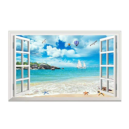 3D-Wandbild Geöffnetes Fenster – Strand Seagull Heißluftballon Muster – wiederverwendbar – Wandaufkleber – Hochwertiger Aufkleber – Wandtattoo Fenster – 3D Fototapete Strand und Meer