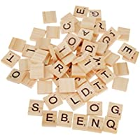 (NO.1) - SupplyEU 100 Wooden Alphabet Scrabble Tiles Black Letters & Numbers For Crafts Wood S