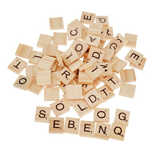 SupplyEU 100 Wooden Alphabet Scrabble Tiles Black Letters & Numbers For Crafts Wood S