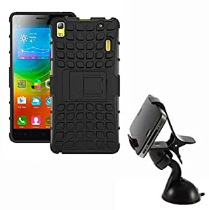 Aart Hard Dual Tough Military Grade Defender Series Bumper back case with Flip Kick Stand for Lenovo A7000 + Car Mobile Holder Mount Bracket Holder Stand 360 Degree Rotating by Aart store.