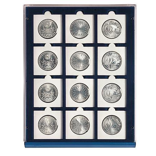 20 Silber Dollar (SAFE MÜNZBOX NOVA Nr. 6350 - 12 x 50 mm QUADRATISCHE FÄCHER - IDEAL FÜR MÜNZRÄHMCHEN 50x50 mm - 1 US SILBER EAGLE IN CAPS Münzen in Münzkapseln bis Caps 44 mm Münzen bis zu einem Durchmesser von 50 mm - Münzenboxen - Münzboxen - Münzelemente)