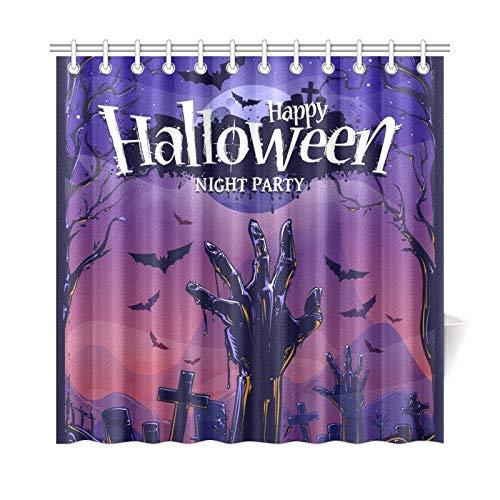 ad Vorhang Halloween Vertikale Poster Design Vorlage Polyester Stoff Wasserdicht Duschvorhang Für Badezimmer, 72X72 Zoll Duschvorhänge Haken Enthalten ()