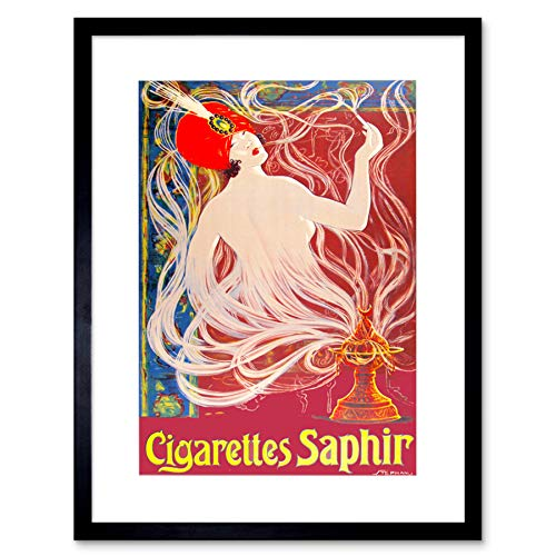 The Art Stop AD Cigarettes Smoking Tobacco Saphir Turban Genie Framed Print F12X2155 -