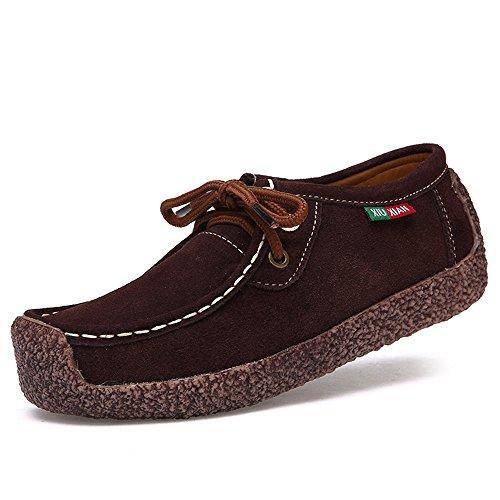Oriskey Damen Mokassin Bootsschuhe Wildleder Loafers Schuhe Flache Fahren Halbschuhe Slippers 40 (Wildleder-bootsschuhe)