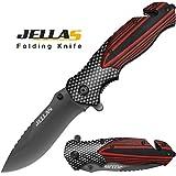 Klappmesser, Jellas J-001 3-in-1 Outdoor Messer mit Titaniumklinge aus 7Cr17 Edelstahl, Taschenmesser & Survival Messer mit Aluminiumgriff & Gürteltasche, Einsetzbar für Arbeit, Wandern, Camping