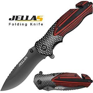 Jellas Aktualisiert 4-in-1 Klappmesser 9Cr18Mov Edelstahl Outdoor Taschenmesser mit 10cm Titaniumklinge aus, Angelmesser…