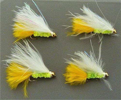 Arc fishing supplies Goldhead Damsel Kunstköder, Gelb/Weiß, 4 Stück Forellenfliegenfliegen Hakengröße 3,7 kg