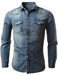 SHOBDW Camisas de los hombres retro Denim blusa vaqueros delgados Tops largos delgados