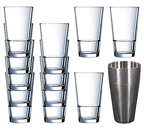 Arcoroc Beruflich Stapeln Highball Trommelglas Satz Von 12 x 470 ml 16oz & Edelstahl Boston Cocktail Shaker 700 ml 24oz, Große & Stapelbar Für Trinkwasser, Cocktails & Saft,