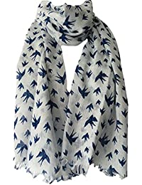 Purple Possum UK Blanc Écharpe avec Bleu marine Imprimé Oiseau, femmes  Commerce équitable Châle Wrap 6d532eb08ef