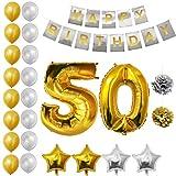 BELLE VOUS Alles Gute zum Geburtstag Folienballons Gold & Silber Party Dekoration Zubehör Set (Age 50)