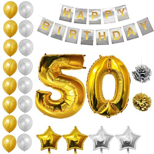 BELLE VOUS Globos Cumpleaños BUON Compleanno, Suministros e Decorazione di Globo Grande de Aluminio - Decorazione Globos De Látex Dorado e Plateado - Aptos para Todos de Peñaños (Age 50)
