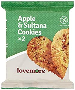Lovemore Gluten Free Apple and Sultana Cookies Twin Packs Individually Wrapped (Pack of 12 Twins, Total of 24 Cookies)