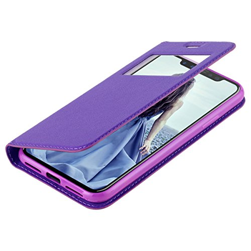Custodia iPhone X,Custodia iPhone 10,iPhone X Case Snewill [Big Window] PU Leather Magnetic Closure Flip View Case Folio Stand Cover with Card Slot for Apple iPhone X - Black Purple