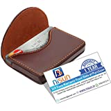 nisun Leather pocket sized business/credit/name card holder case wallet with Magnetic Shut for gift – Coffee