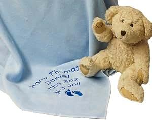 Couverture souvenir personnalisable Bleu (Veuillez indiquer le motif et le message à la section Emballage)