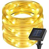 LE 10m 100LEDs Corda luminosa Impermeabile, Pannello Solare 1.2V Bianco Caldo