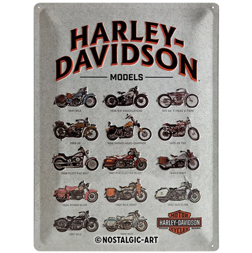 Nostalgic-Art 23233 Harley-Davidson - Models   Retro Blechschild   Vintage-Schild   Wand-Dekoration   Metall   30x40 cm