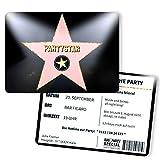 Einladungskarten zum Geburtstag - Hollywood Star | 10 Stück | Inkl. Druck Ihrer Texte | Stern | Individuelle Einladungen | Kindergeburtstag | Einladungskarte Junge Mädchen | Karte Einladung