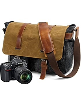 YAAGLE vintage Umhängetasche Segeltuch mit echt Leder Kamaratasche für DSLR-Kamera und Zubehör Digital-Spiegelreflex-Kameratasche
