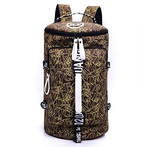 WOMJIA Bunt Reisetsache Sporttasche Weekender Tasche Handgepäck aus Canvas Segeltuch 35 Liter Schwarz Braun