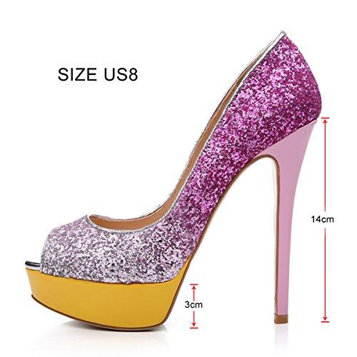Onlymaker Damenschuhe High Heels Pumps Peep Toe Stiletto Plateau Absatz Lackleder glitzer rosa
