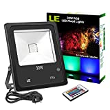 LE 30W RGB LED Flood Lights, Remote Control, Colour Changing Security Light, 16 Colours 4 Modes, Dimmable, Waterproof LED Floodlight, UK 3-Plug, Wall Washer Light