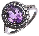 stargems (TM) Natürliche Amethyst Handgefertigt Vintage 925Sterling Silber Ring, UK Größe N 1/2